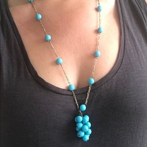 LONG TURQUOISE FUN CLUSTER PENDANT NECKLACE